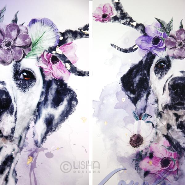 LISHA Designs – verzauberte Hunde auf Leinwand